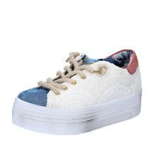 scarpe donna 2 STAR 36 EU sneakers beige blu tessuto BZ523-B