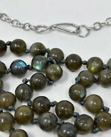 """Hand Knotted Natural Labradorite Stone Bead Single Strand Necklace 42"""" Long"""