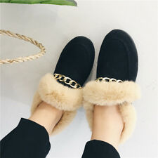 Ballerine mocassini scarpe donna basse nero pelo  simil pelle comode 8979