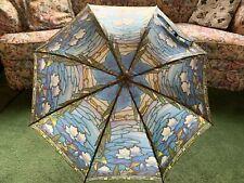 Vintage 1992 Salamander Stained Glass Design Large Umbrella Parasol