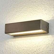 LED Außenwandleuchte Patrica Lampenwelt Edelstahl Eckig Wandlampe LED Elegant