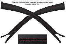 RED Stitch 2x un pilastro montante CUOIO PELLE copre gli accoppiamenti FORD MUSTANG COUPE 05-09