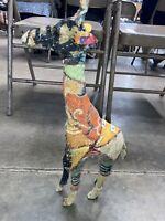 "Unique Art Giraffe Statue Handmade Vintage Fabric Quilt decoupage Covered 18"""