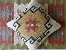 "Set Of 2 Indian Kilim Cushion Cover 18X18"" Boho Ethnic Vintage Jute Pillow Cases"