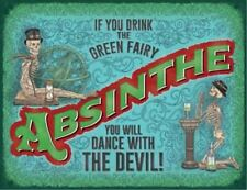 Absinthe Green Fairy/Skeleton advertising sign 20x30cm metal wall plaque