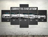 Chevrolet Corvette Evolution Car 5 Pieces Canvas Wall Art Poster Print Home Deco