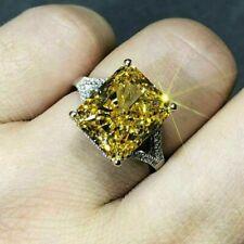 5Ct Emerald Cut Yellow Citrine & Diamond Anniversary Ring 14K White Gold Finish