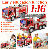 Fire Rescue Extinguisher Engine Truck Red Car Vehicles 1:16 Model Kids Toys