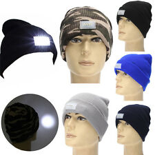 Battery Powered Hat Adjustable Outdoor Beanie Cap with 5 Bright LED Light New