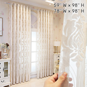DIY European Tulle Curtain Floral Embossed Sheer Translucidus Window Drape Panel