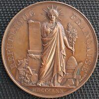 MEDAILLE - REPUBLIQUE FRANÇAISE TIR DE PLOMBIERES 1877 PAR OUDINE CUIVRE