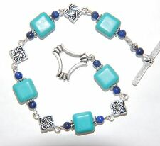 Copper Mottled TURQUOISE with LAPIS Lazuli Silver Linked Bracelet ~ toggle clasp
