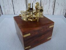 Polished Brass Sextant w/ Box ~ Sextent Astrolabe ~ Nautical Maritime Instrument