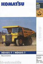 Komatsu hd465-7 hd605-7 camiones de volteo folleto 10 02 brochure volcado trucks Japón