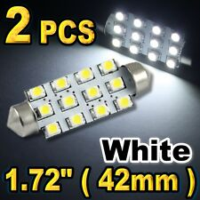 2x White 42mm 12-SMD Festoon LED Bulb Car Interior Map Dome Lights 211-2 578 /B1