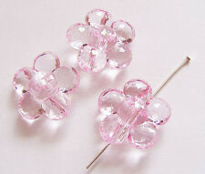 10 Plastic Acrylic Flower Beads - Transparent Pink - 25mm