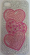 Diamonte Pink Love Hearts Design Sticker for Apple iPhone 4/4G/4S Phone Decal