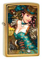 Zippo Lady. Industrial Machinery. Steampunk, Top Hat. Brass, Lighter 28321 *NEW*