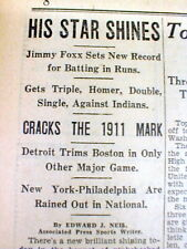 1933 newspaper MD Eastern Shore JIMMY FOXX sets RBI RECORD - 9 in a single game