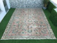8'5''x10'9'' Vintage Turkish Large Rug,Antique Ushak Rug,Oushak Oversized Rug