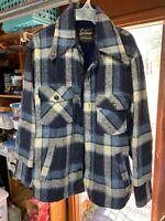 VTG Sears  Men's Plaid Heavy Wool Blend  pile Lined CPO Jacket Size 40 Regular