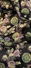 Black Pink Green Medallion Floral Chinese Brocade Fabric 45'' PRICE PER METER