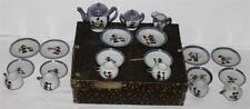 """DISNEY1930'sCOMPLETE BOXED SET:""""MICKEY MOUSE CHINA TEA SET""""23 PIECES-BLUE LUSTER"""
