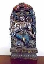 Antique Hindu Saraswati Devi Wooden Sculpture Statue Saras Temple Figurine Murti