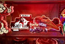 NEON SIGNS: MILLER HIGH LIFE + COORS LIGHT+ MARLBORO MOBIL  INDY F1 RACE CAR