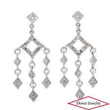 Estate Diamond 14K White Gold Dangle Chandelier Earrings NR