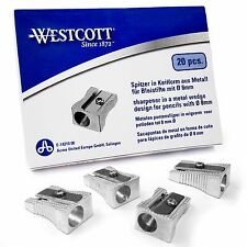 Westcott Single Hole Metal Pencil Sharpener - Wedge Design - Box of 20 - E-14210