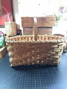 Vintage Primitive Split Oak Hand Woven Gathering Basket Signed 1985 Kentucky