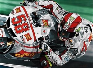 Marco Simoncelli  90x70 cms limited edition Moto GP art print by Colin Carter
