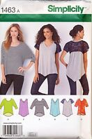 SIMPLICITY SEWING PATTERN 1463 MISSES SZ 4-26 KNIT PULLOVER TOPS IN PLUS SIZES