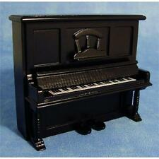 Negro piano vertical para escala 1:12 Casa De Muñecas