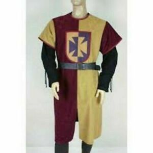 MEDIEVAL Knight Tunic Red&Camel Surcoat Sleeveless Renaissance Style Best