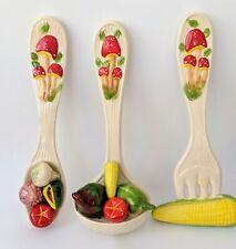 Vintage Ceramic Mushrooms 1970's Wall Decor Spoon Fork Ladle full of Vegetables