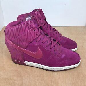 Nike Dunk Sky Hi  Hidden Wedge Suede Bolt Shoe Rare 543258-500 Womens 8.5 Pink