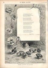 Juillet Les Petits Cailles Poussins Poésie de François Coppée GRAVURE PRINT 1876