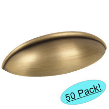 *50 Pack* Cosmas Cabinet Hardware Brushed Antique Brass Cup Handle Pull #1399BAB