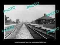 OLD 8x6 HISTORIC PHOTO OF GREENCASTLE INDIANA THE RAILROAD DEPOT STATION 1940