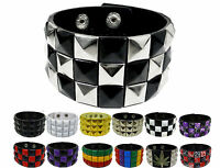 Studded Bracelet Vegan Faux Leather Cuff Bangle For Men Women Wristband Stud