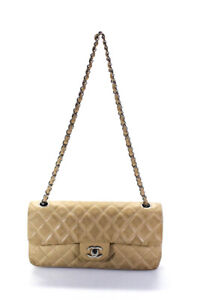 Chanel Quilted Classic E/W Single Flap Shoulder Bag Beige
