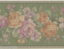 Victorian Green Purple Reflective Gold Silk Rose Flower Floral Wall paper Border