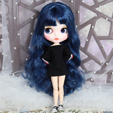 Blythe Nude Doll Blue Long Curly Hair With Face Make-up Eyebrow 1/6 Scale Dolls
