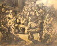Antique impressionist pencil painting soldiers portrait signed