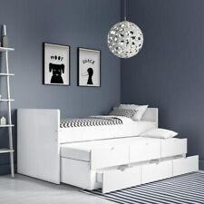 Single Guest Bed with Trundle & Storage White Wooden Mid Sleeper Kids Bed