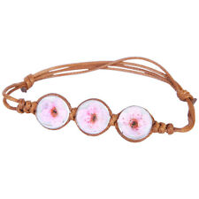 Brown Pink Daisy Dried Flower Adjustable Glass Balls Bangle Bracelet  BB210