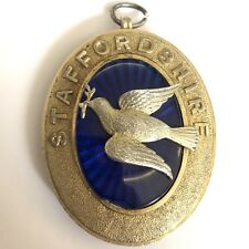 Solid Silver & Glass Masonic Jewel / Pendant Staffordshire Dove A/F