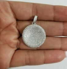 Men 925 Sterling Silver Lab Diamond Circle Chain Necklace Pendant